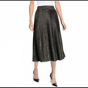 A New Day Silver Metallic Midi Pleated Skirt L